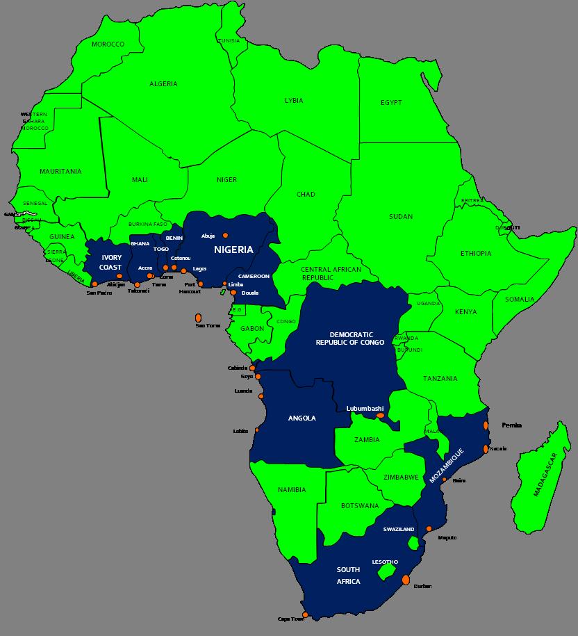 Belangrijkste bestemmingen West Afrika